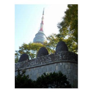 Turm Seouls Namsan durch die Leuchtfeuer Postkarte