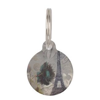 Turm Shabby Chic-Blumen-Wirbelsparis Eiffel Haustiermarke