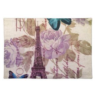 Turm Shabby Chicblumenschmetterling Paris Eiffel Tischset