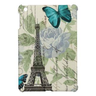 Turm Shabby Chicblumenschmetterlingsparis Eiffel iPad Mini Hülle