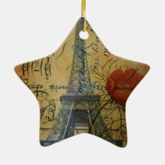 Turm-Shabby Chicmohnblumen-Blume Paris Eiffel Keramik Ornament