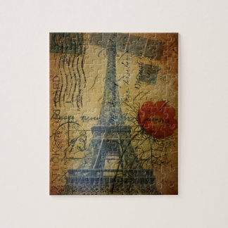 Turm-Shabby Chicmohnblumen-Blume Paris Eiffel Puzzle