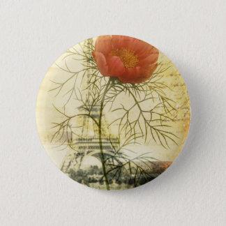 Turm-Shabby Chicmohnblumen-Blume Paris Eiffel Runder Button 5,7 Cm