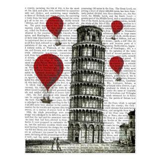 Turm von Pisa und von glühenden Luft-Ballonen Postkarte