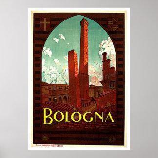 Türme von Bologna Italien Vintag Poster