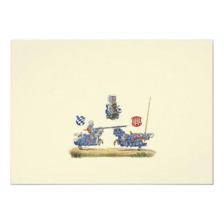 Turnierende Ritter - mittelalterliches Thema 12,7 X 17,8 Cm Einladungskarte