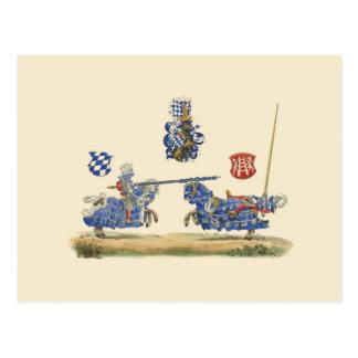 Turnierende Ritter - mittelalterliches Thema Postkarte