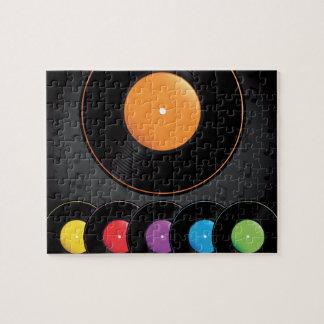 Turntable-Platten in den klaren Farben Puzzle