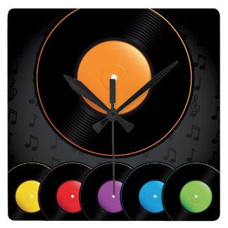 Turntable-Platten in den klaren Farben Quadratische Wanduhr