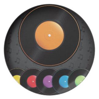 Turntable-Platten in den klaren Farben Teller
