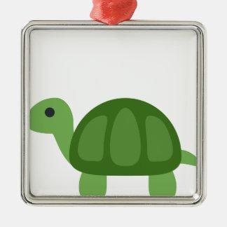 Turtle Emoji Silbernes Ornament