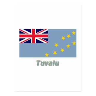 Tuvalu-Flagge mit Namen Postkarte