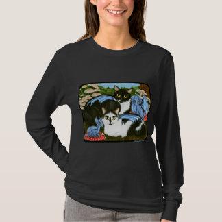 Tuxedo-Katzen-blaues Drache-Pilz-Fantasie-Shirt T-Shirt