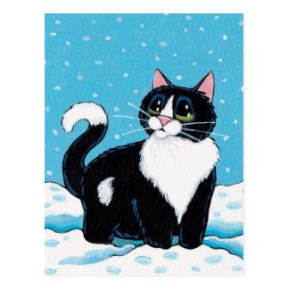 Tuxedo-Katzen-stehendes Knie tief in der Postkarte