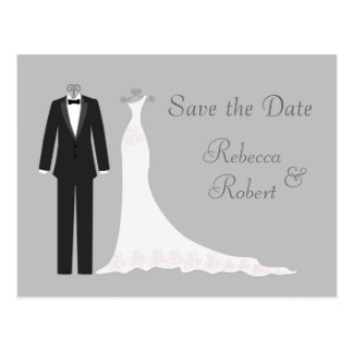 Tuxedo, Kleid auf Silber Save the Date Postkarte