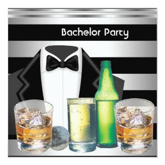 Tuxedo-Schwarz-Silber der Junggeselle-Party-Männer Quadratische 13,3 Cm Einladungskarte
