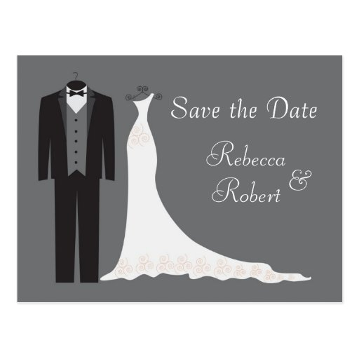 Tuxedo und Kleid, die Save the Date Postkarte