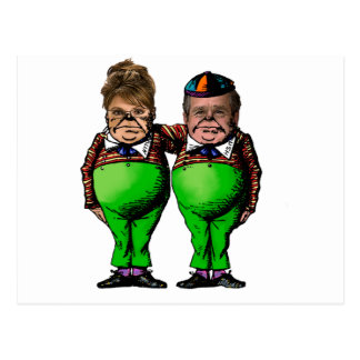 Tweedles Palin u. Bush Postkarte