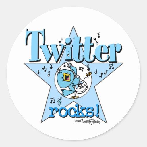 Tweeten Twitter-Felsenaufkleber Runde Aufkleber