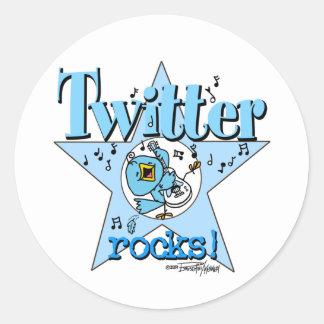 Tweeten Twitter-Felsenaufkleber Runder Aufkleber