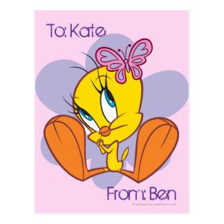 Tweety und Schmetterling Postkarte