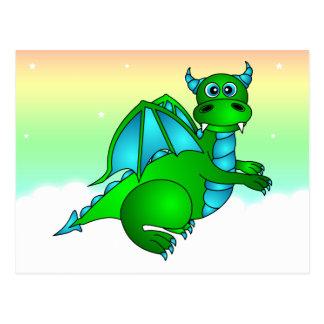 Twilight Flug - niedlicher grüner u. blauer Drache Postkarten