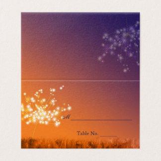 Twilight Löwenzahn-Hochzeit im Herbst Platzkarte