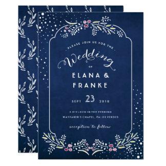 Twilight romantischer Garten-blaue Abends-Hochzeit Karte