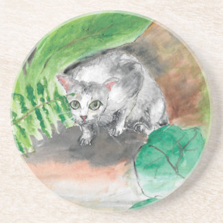 Twitt das geheime Versteck einer Katze Sandstein Untersetzer