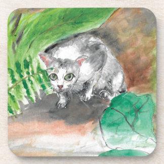 Twitt das geheime Versteck einer Katze Untersetzer