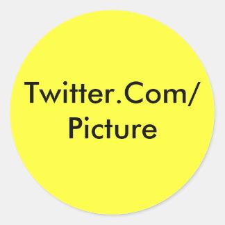Twitter-Aufkleber-Gelb Runder Aufkleber