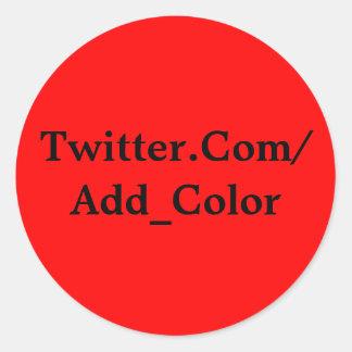 Twitter-Aufkleber-Rot Runder Aufkleber