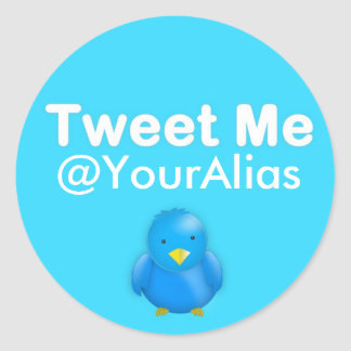 Twitter-Aufkleber: Tweete ich @YourAlias Runder Aufkleber