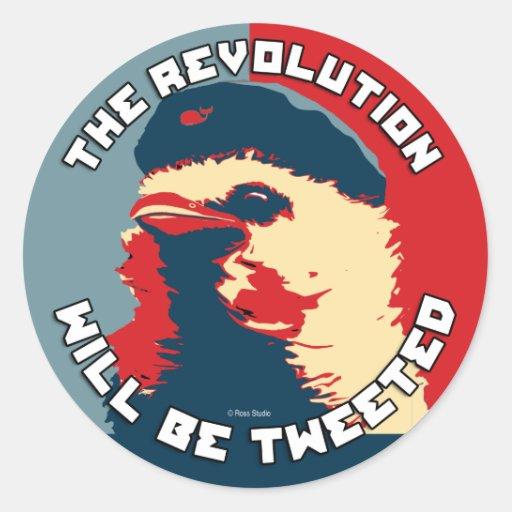 Twitter der Revolution Che Vogel Runder Aufkleber