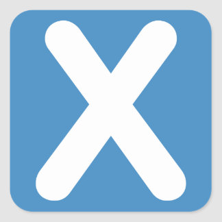 Twitter emoji - Letter X Quadratischer Aufkleber