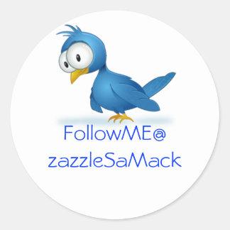 Twitter-Follow-me @ Ihr Benutzername Runder Sticker