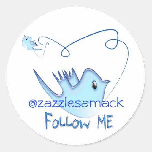 Twitter-Geschenke mit Ihrem Benutzername-Follow-me Runder Sticker