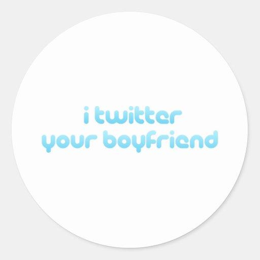 Twitter I Ihr Freund Runder Sticker