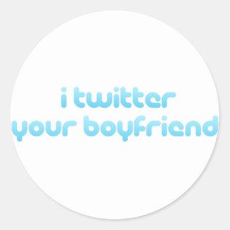 Twitter I Ihr Freund Runder Aufkleber
