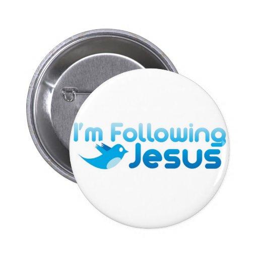 Twitter ich folge ich Jesus Christus Anstecknadelbutton