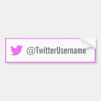 Twitter-username-Autoaufkleber (Rosa) Autoaufkleber