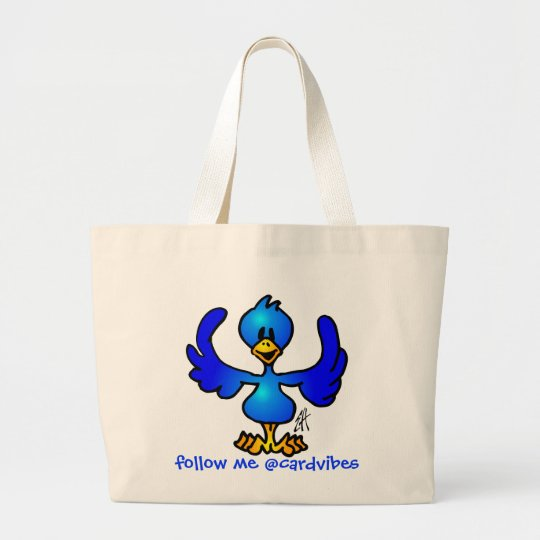 Twittering Blau Vogel Jumbo Stoffbeutel