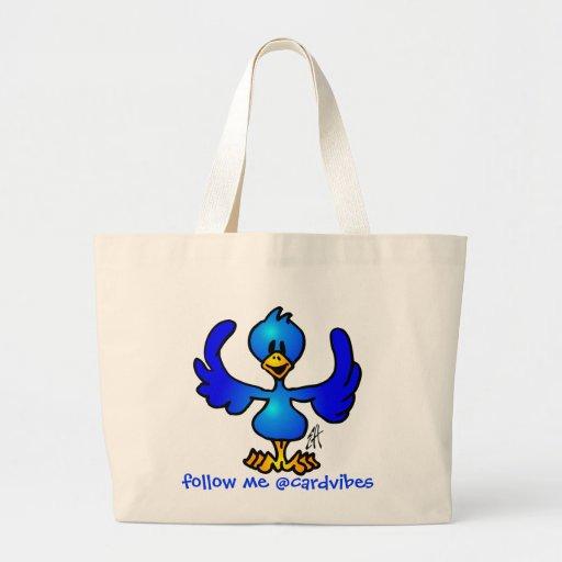 Twittering Blau Vogel Leinentasche