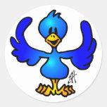 Twittering Blau Vogel Runde Aufkleber
