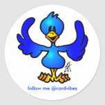 Twittering Blau Vogel Runde Sticker