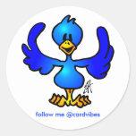 Twittering Blau Vogel Runder Aufkleber
