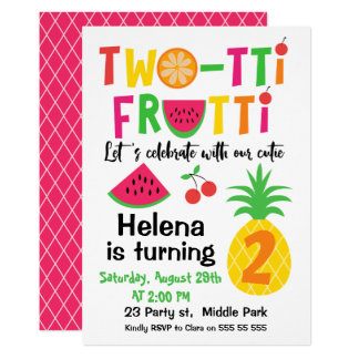Two Tti Frutti 2. Geburtstags Einladung Fu0026#252 ...