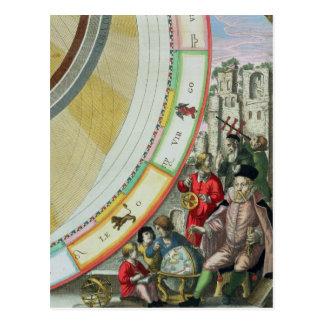 Tycho Brahe, Detail von einer Karte, die seins Postkarte