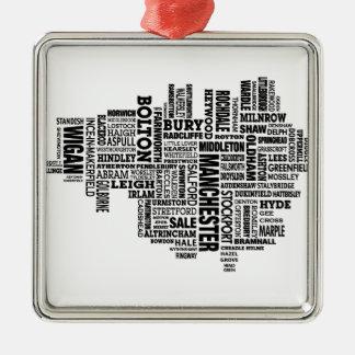 Typkarte von größerem Manchester Silbernes Ornament