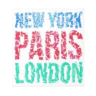 Typografie Hauptstadts-New York Paris London, T - Notizblock
